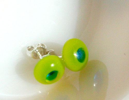 sterling silver backed glass earrings